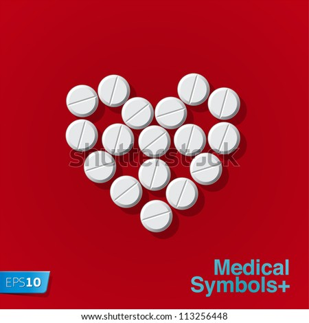 Pills in heart arrange on red background, vector Eps 10 illustration.