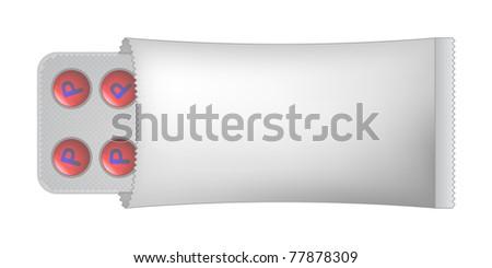 pills in paper bag - stock vector