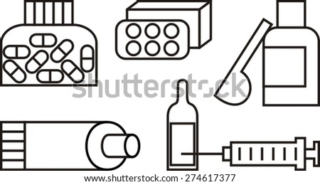 pills, medication, icons set, vector illustration