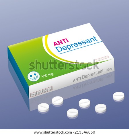 Pills named Anti Depressant with a smiling pill as the brand logo on the packet. It is a medical fake product, which alludes to the handling with psychotropic drugs. Vector illustration. - stock vector