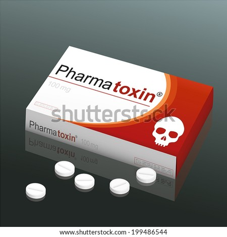 Pills named Pharmatoxin with a skull as the brand logo on the cardboard packet. It's a medical fake product, which alludes to the danger of false medication. Vector illustration. - stock vector