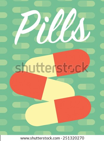 Pills pattern poster over green color background - stock vector
