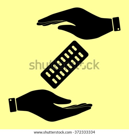 Pills sign. Save or protect symbol by hands. - stock vector