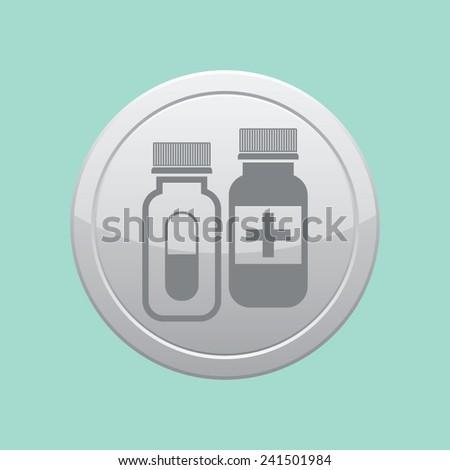 Pills vector icon. Medicine sign. Drugs icon. Gray round button. - stock vector