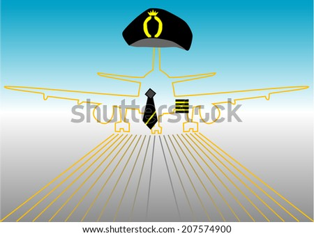 pilot and runway. - stock vector