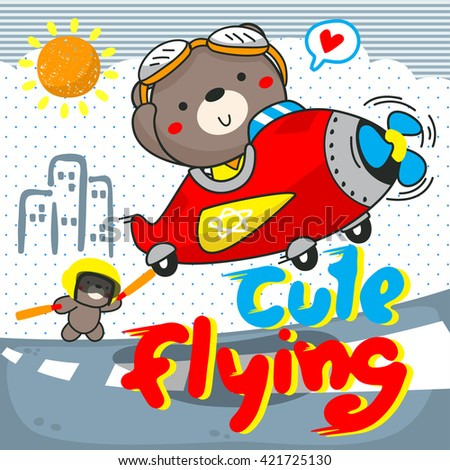 Pilot bear and his brother riding an airplane illustration vector. - stock vector