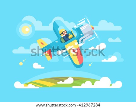 Pilot flying on airplane - stock vector