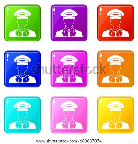 Pilot icons of 9 color set isolated vector illustration