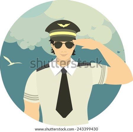 pilot of the plane on the man in the form of a pilot on the sky background with an airplane flying in the clouds sky background - stock vector