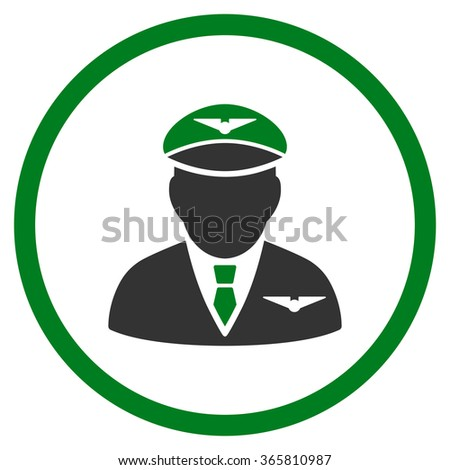 Pilot vector icon. Style is bicolor flat circled symbol, green and gray colors, rounded angles, white background.
