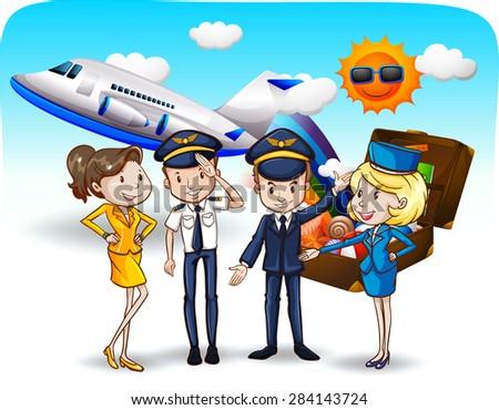 Pilots and flight attendants in uniform - stock vector