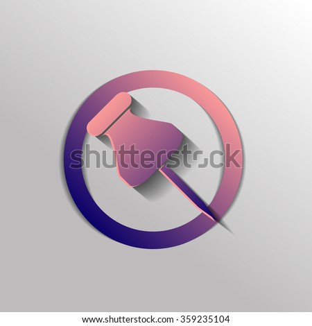 pin for papers sign. symbol icon office supplies