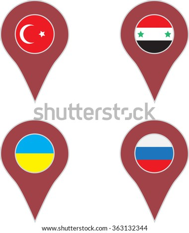 Pin location country set. Turkey and syria, ukraine and russia. Vector art abstract unusual fashion illustration - stock vector