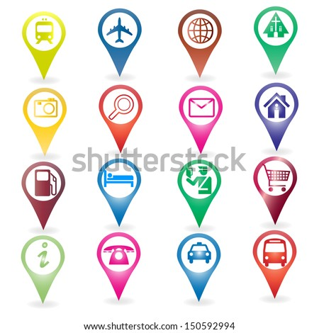 pin map icon and point of loacation - stock vector