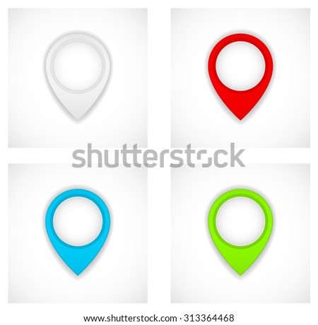 pin map paper marker  icon pointer - stock vector