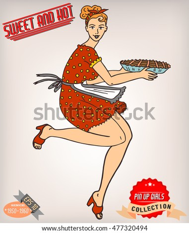 Pin-up girl. American style. Vector illustration