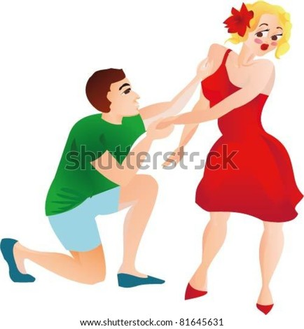 Pin-up girl Marriage proposal - stock vector