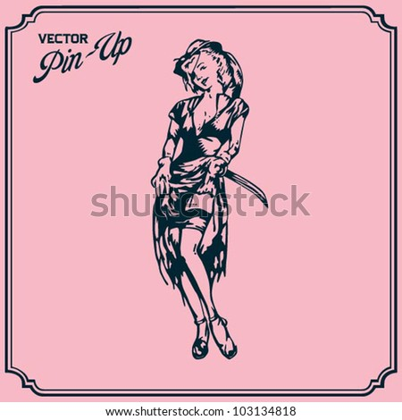 Pin Up Pirate - stock vector