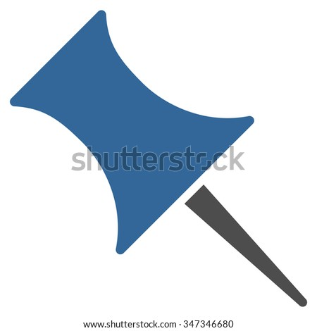 Pin vector icon. Style is bicolor flat symbol, cobalt and gray colors, rounded angles, white background.