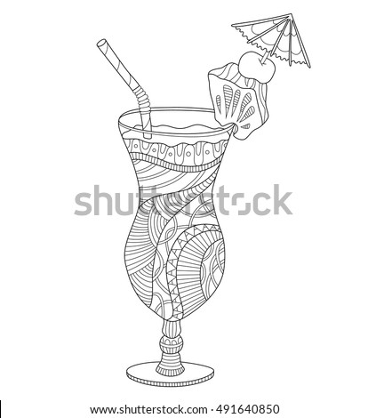 Pina Colada Adult Coloring Page In Zentangle Style