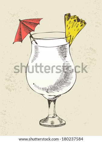 Pina colada cocktail with pineapple in glass cup - stock vector