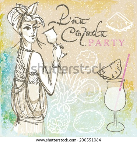 PINA COLADA party / Retro card with summer drink on the beach   - stock vector