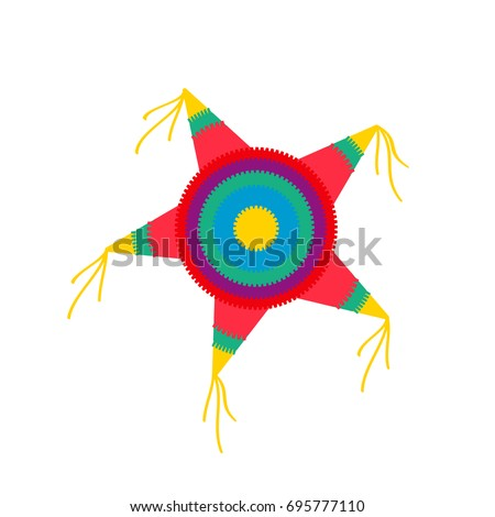pinata star shape. Vector illustration isolated on white background