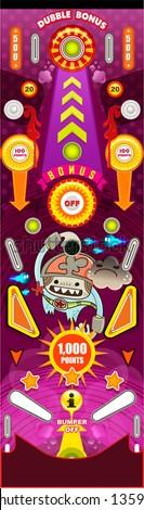 Pinball game, Pinball table, vector illustrator - stock vector