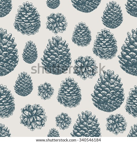 Pine cones pattern. Christmas gift wrapping. Vector illustration - stock vector