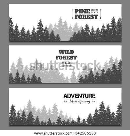 Pine forest horizontal banner set. Journey and adventure card, landscape wood, vector illustration - stock vector