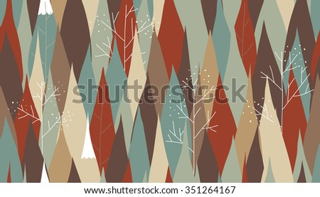Pine tree in autumn season seamless pattern