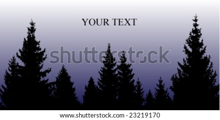 pine tree silhouette with blue gradient background - stock vector