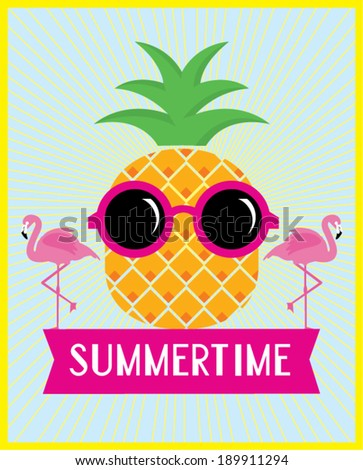 pineapple and flamingo summertime vector/illustration template - stock vector