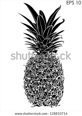 Black And White Design pineapple black white design stock vector 128810716 - shutterstock