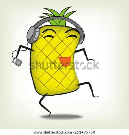 Pineapple cartoon design - stock vector