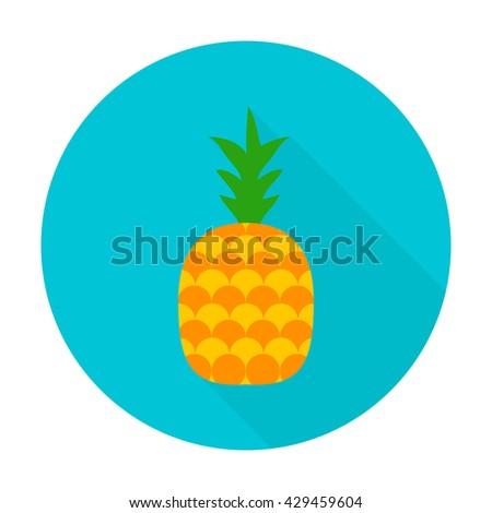 Pineapple flat circle icon. Vector illustration of fresh fruit food. - stock vector