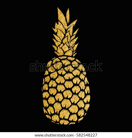 pineapple gold illustration isolated on white background. Design elements for logo, label, emblem, sign, menu. Vector illustration.