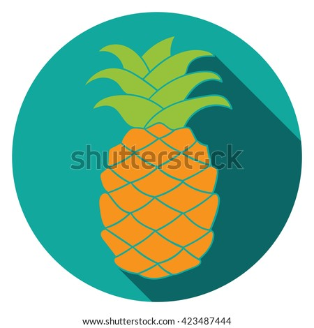 Pineapple Icon. Pineapple set. Pineapple silhouette. Pineapple flat. Pineapple logo element. Pineapple print. Pineapple isolated. Pineapple close up. Pineapple with leaves. Pineapple blue background. - stock vector