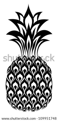 pineapple isolated on White background. Vector illustration - stock vector