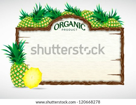 pineapple menu board - stock vector