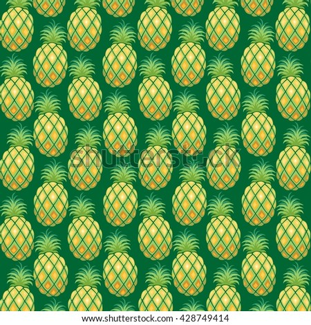 Pineapple Pattern Fabric Vector - stock vector