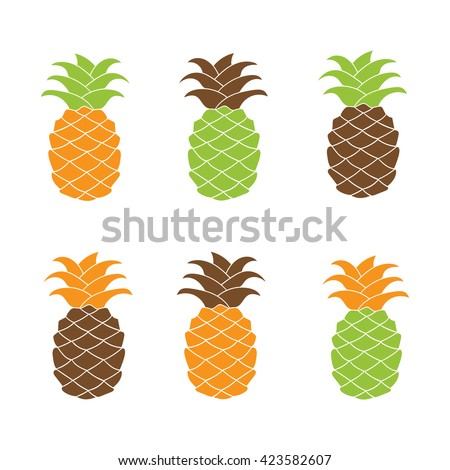 Pineapple plant silhouette element collection for Icon, logo, print, label design, web, decoration, t-shirt. Vector set illustration isolated on white background.