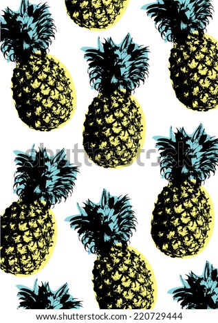 pineapple pop art background vector/illustration - stock vector
