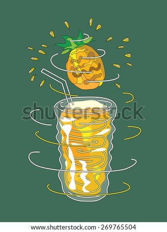 Pineapple smoothie vector concept. Design element for cafe or restaurant with energetic fresh drink. Fresh juice for healthy life. Organic raw shake. Hand drawn illustration. Rotating glass. - stock vector