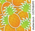 Pineapple sticker background/card in vector format. - stock vector