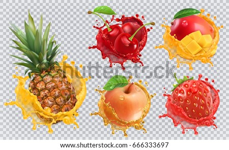 Pineapple, strawberry, apple, cherry, mango juice. Fresh fruits and splashes, 3d vector icon set
