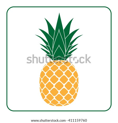 Pineapple with leaf icon. Tropical fruit isolated on white background. Symbol of food, sweet, exotic and summer, vitamin, healthy. Nature logo dessert. Flat concept. Design element Vector illustration