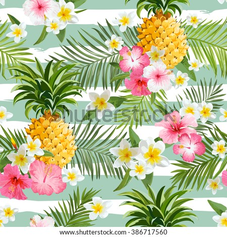Pineapples and Tropical Flowers Geometry Background - Vintage Seamless Pattern - in vector - stock vector