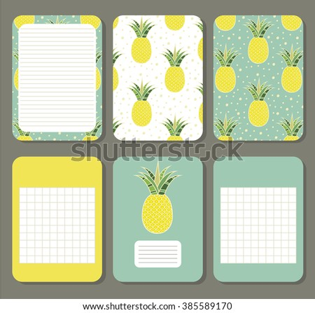 Pineapples. Cute pages for notes with cute pineapples. Notebooks, decals, diary, cards, school accessories. Cute design with seamless patterns with cute  fruits.  - stock vector