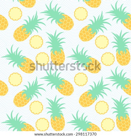 Pineapples. Seamless geometric pattern. Exotic fruits in water. Summer background. Sea waves. Vector illustration. - stock vector